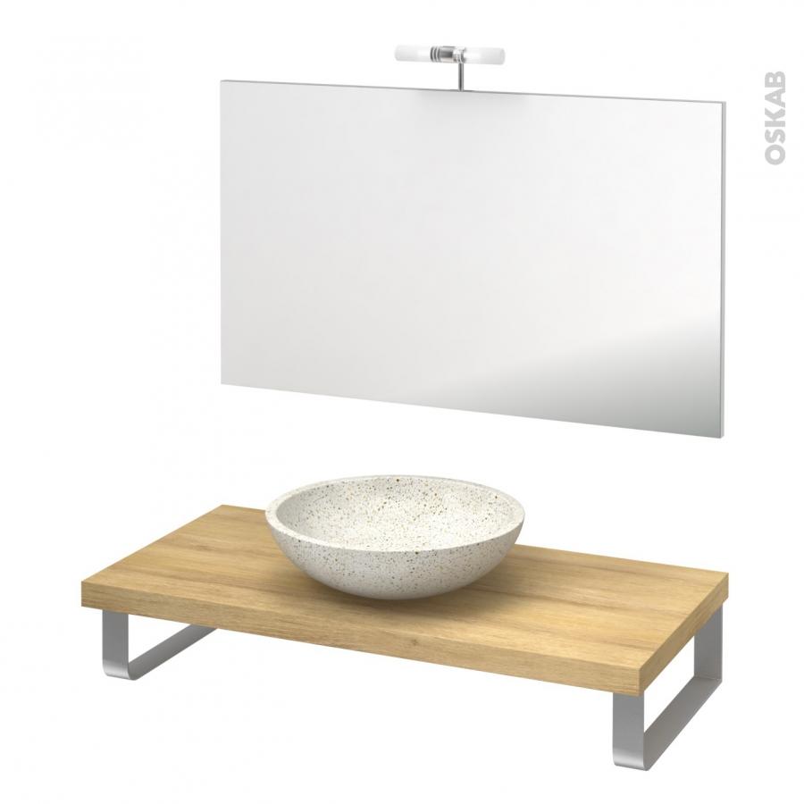 Pack salle de bains pmr vasque poser ricia blanc plan de for Support vasque salle de bain