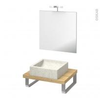 Pack salle de bains PMR - Vasque à poser LUDWIG Blanc - Plan de toilette Hosta - Miroir et éclairage - L60 x P50 cm