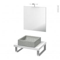 Pack salle de bains PMR - Vasque à poser LUDWIG Gris - Plan de toilette Blanc - Miroir et éclairage - L60 x P50 cm