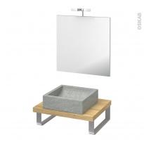 Pack salle de bains PMR - Vasque à poser LUDWIG Gris - Plan de toilette Hosta - Miroir et éclairage - L60 x P50 cm