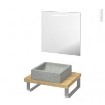 Pack salle de bains PMR - Vasque à poser Ludwig gris - Plan de toilette Hosta - Miroir rétroéclairé - L60 x P50