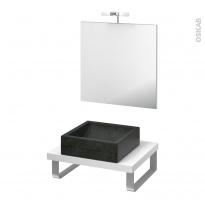 Pack salle de bains PMR - Vasque à poser LUDWIG Noir - Plan de toilette Blanc - Miroir et éclairage - L60 x P50 cm