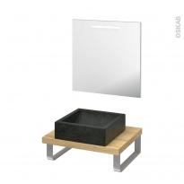 Pack salle de bains PMR - Vasque à poser LUDWIG Noir - Plan de toilette Hosta - Miroir lumineux - L60 x P50 cm