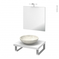 Pack salle de bains PMR - Vasque à poser RICIA Blanc - Plan de toilette Blanc - Miroir et éclairage - L60 x P50 cm