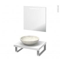 Pack salle de bains PMR - Vasque à poser RICIA Blanc - Plan de toilette Blanc - Miroir lumineux - L60 x P50 cm