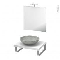 Pack salle de bains PMR - Vasque à poser RICIA Gris - Plan de toilette Blanc - Miroir et éclairage - L60 x P50 cm