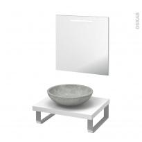 Pack salle de bains PMR - Vasque à poser RICIA Gris - Plan de toilette Blanc - Miroir lumineux - L60 x P50 cm