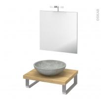 Pack salle de bains PMR - Vasque à poser RICIA Gris - Plan de toilette Hosta - Miroir et éclairage - L60 x P50 cm