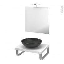 Pack salle de bains PMR - Vasque à poser RICIA Noir - Plan de toilette Blanc - Miroir et éclairage - L60 x P50 cm