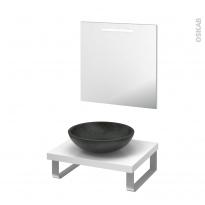 Pack salle de bains PMR - Vasque à poser RICIA Noir - Plan de toilette Blanc - Miroir lumineux - L60 x P50 cm