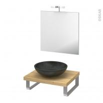 Pack salle de bains PMR - Vasque à poser RICIA Noir - Plan de toilette Hosta - Miroir et éclairage - L60 x P50 cm