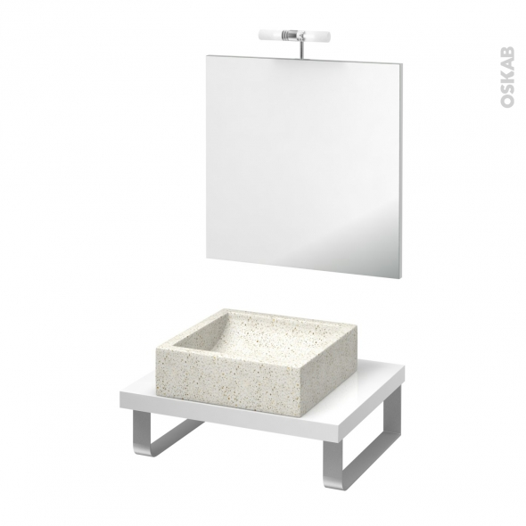 Pack salle de bains PMR - Vasque à poser LUDWIG Blanc - Plan de toilette Blanc - Miroir et éclairage - L60 x P50 cm