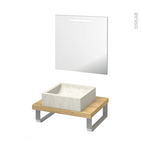 Pack salle de bains PMR - Vasque à poser LUDWIG Blanc - Plan de toilette Hosta - Miroir lumineux - L60 x P50 cm
