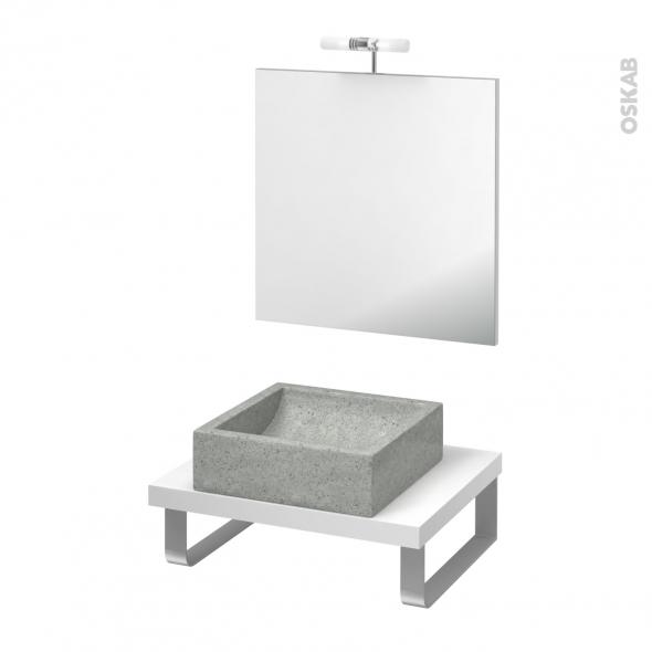 Pack salle de bains PMR - Vasque à poser Ludwig gris - Plan de toilette Blanc - Miroir et éclairage - L60 x P50