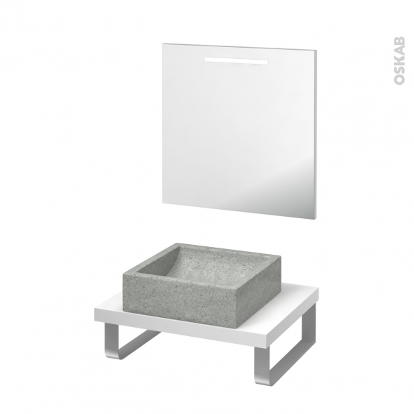 pack salle de bains pmr vasque poser ludwig gris plan de toilette blanc miroir lumineux l60 x. Black Bedroom Furniture Sets. Home Design Ideas