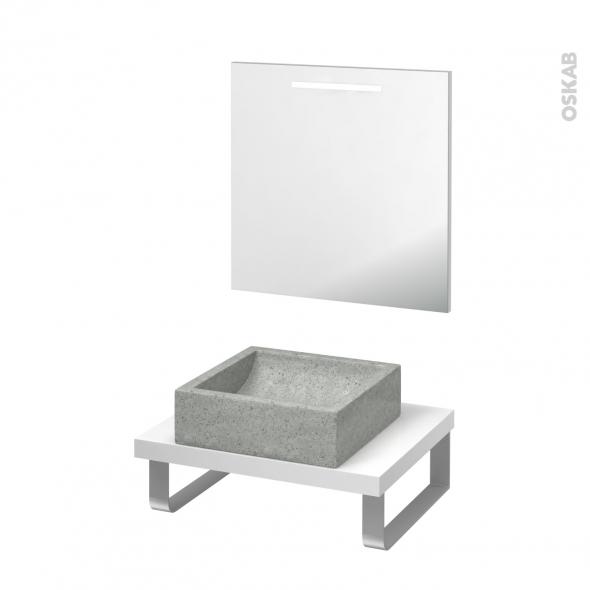 Pack salle de bains PMR - Vasque à poser Ludwig gris - Plan de toilette Blanc - Miroir rétroéclairé - L60 x P50