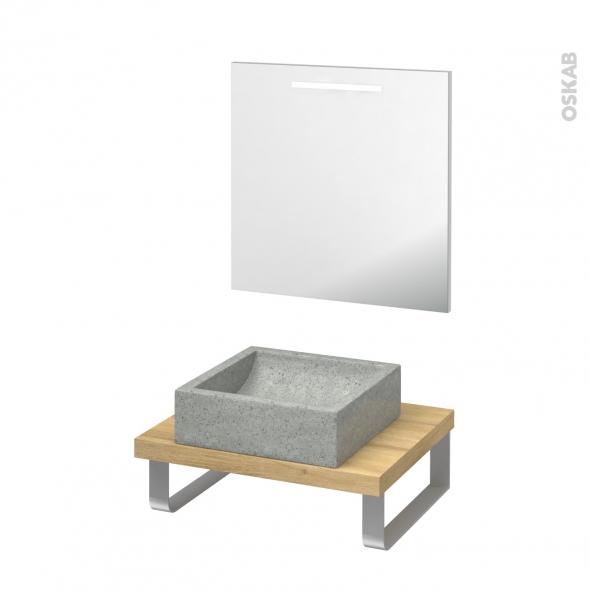 Pack salle de bains PMR - Vasque à poser LUDWIG Gris - Plan de toilette Hosta - Miroir lumineux - L60 x P50 cm