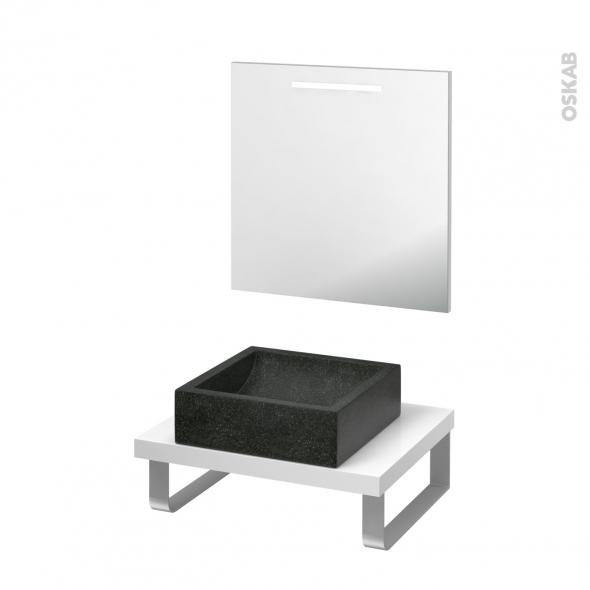 Pack salle de bains PMR - Vasque à poser LUDWIG Noir - Plan de toilette Blanc - Miroir lumineux - L60 x P50 cm