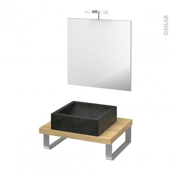 Pack salle de bains PMR - Vasque à poser LUDWIG Noir - Plan de toilette Hosta - Miroir et éclairage - L60 x P50 cm