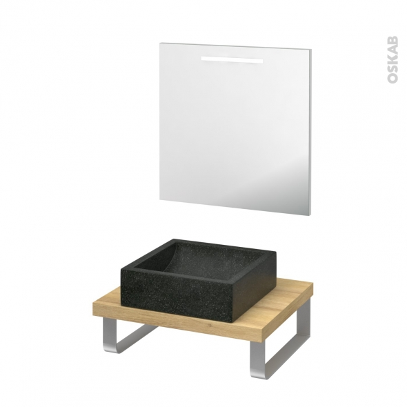 Pack salle de bains PMR - Vasque à poser Ludwig noir - Plan de toilette Hosta - Miroir rétroéclairé - L60 x P50