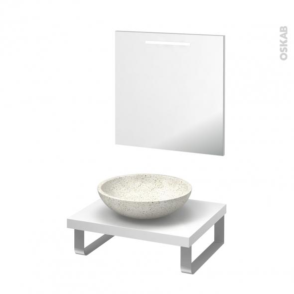 Pack salle de bains PMR - Vasque à poser Ricia blanc - Plan de toilette Blanc - Miroir rétroéclairé - L60 x P50