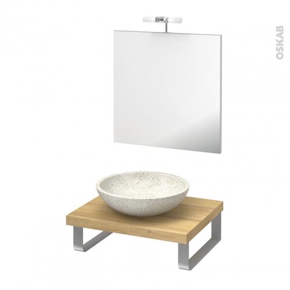 Pack salle de bains PMR - Vasque à poser RICIA Blanc - Plan de toilette Hosta - Miroir et éclairage - L60 x P50 cm