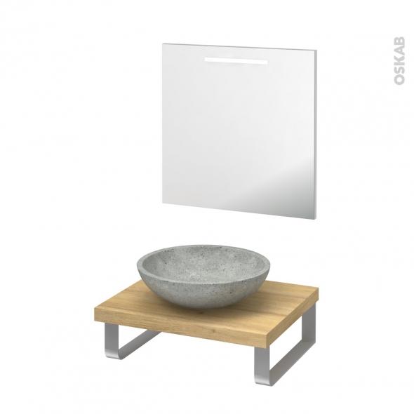 Pack salle de bains PMR - Vasque à poser Ricia gris - Plan de toilette Hosta - Miroir rétroéclairé - L60 x P50