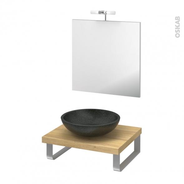 Pack salle de bains PMR - Vasque à poser Ricia noir - Plan de toilette Hosta - Miroir et éclairage - L60 x P50
