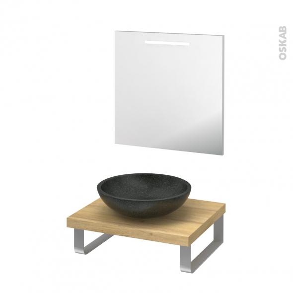 Pack salle de bains PMR - Vasque à poser Ricia noir - Plan de toilette Hosta - Miroir rétroéclairé - L60 x P50