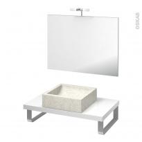 Pack salle de bains PMR - Vasque à poser LUDWIG Blanc - Plan de toilette Blanc - Miroir et éclairage - L80 x P50 cm