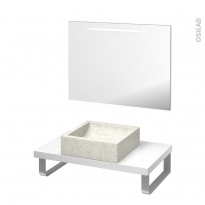 Pack salle de bains PMR - Vasque à poser LUDWIG Blanc - Plan de toilette Blanc - Miroir lumineux - L80 x P50 cm