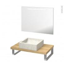Pack salle de bains PMR - Vasque à poser LUDWIG Blanc - Plan de toilette Hosta - Miroir lumineux - L80 x P50 cm