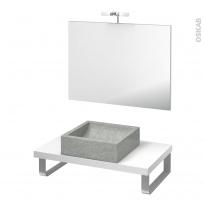 Pack salle de bains PMR - Vasque à poser LUDWIG Gris - Plan de toilette Blanc - Miroir et éclairage - L80 x P50 cm