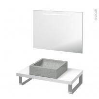 Pack salle de bains PMR - Vasque à poser LUDWIG Gris - Plan de toilette Blanc - Miroir lumineux - L80 x P50 cm