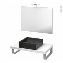Pack salle de bains PMR - Vasque à poser LUDWIG Noir - Plan de toilette Blanc - Miroir et éclairage - L80 x P50 cm