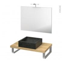 Pack salle de bains PMR - Vasque à poser LUDWIG Noir - Plan de toilette Hosta - Miroir et éclairage - L80 x P50 cm