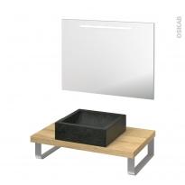 Pack salle de bains PMR - Vasque à poser LUDWIG Noir - Plan de toilette Hosta - Miroir lumineux - L80 x P50 cm