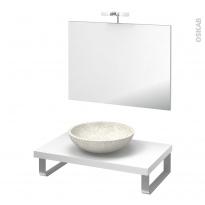 Pack salle de bains PMR - Vasque à poser RICIA Blanc - Plan de toilette Blanc - Miroir et éclairage - L80 x P50 cm
