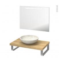 Pack salle de bains PMR - Vasque à poser RICIA Blanc - Plan de toilette Hosta - Miroir lumineux - L80 x P50 cm