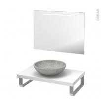 Pack salle de bains PMR - Vasque à poser RICIA Gris - Plan de toilette Blanc - Miroir lumineux - L80 x P50 cm
