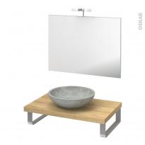 Pack salle de bains PMR - Vasque à poser RICIA Gris - Plan de toilette Hosta - Miroir et éclairage - L80 x P50 cm