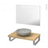 Pack salle de bains PMR - Vasque à poser RICIA Gris - Plan de toilette Hosta - Miroir lumineux - L80 x P50 cm
