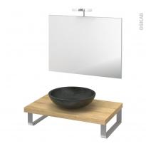 Pack salle de bains PMR - Vasque à poser Ricia noir - Plan de toilette Hosta - Miroir et éclairage - L80 x P50