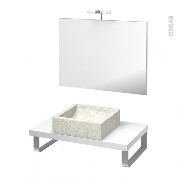 Pack salle de bains PMR - Vasque à poser Ludwig blanc - Plan de toilette Blanc - Miroir et éclairage - L80 x P50