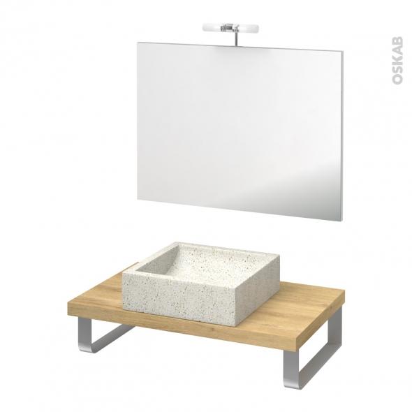 Pack salle de bains PMR - Vasque à poser Ludwig blanc - Plan de toilette Hosta - Miroir et éclairage - L80 x P50