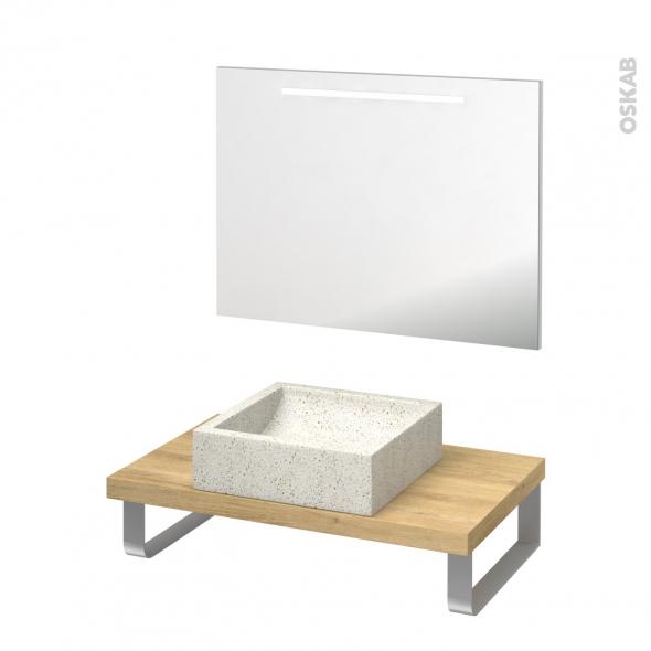 Pack salle de bains PMR - Vasque à poser Ludwig blanc - Plan de toilette Hosta - Miroir rétroéclairé - L80 x P50