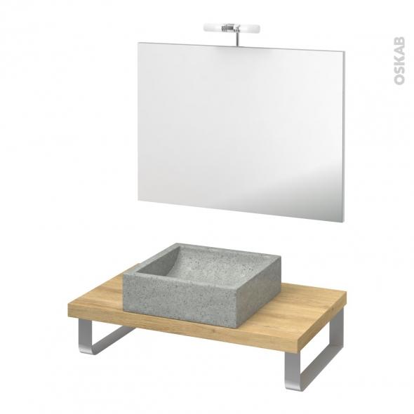 Pack salle de bains PMR - Vasque à poser LUDWIG Gris - Plan de toilette Hosta - Miroir et éclairage - L80 x P50 cm