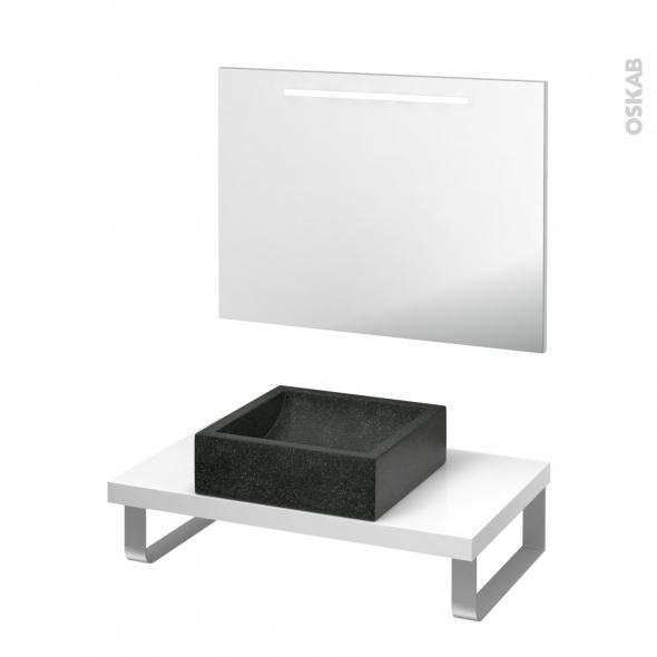 Pack salle de bains PMR - Vasque à poser LUDWIG Noir - Plan de toilette Blanc - Miroir lumineux - L80 x P50 cm