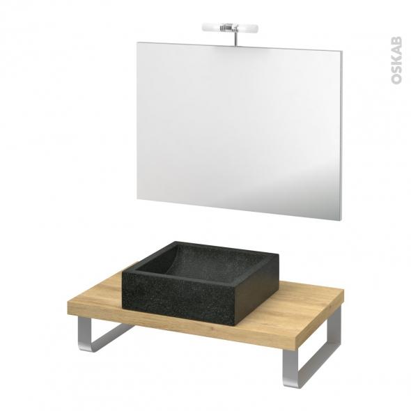 Pack salle de bains PMR - Vasque à poser Ludwig noir - Plan de toilette Hosta - Miroir et éclairage - L80 x P50