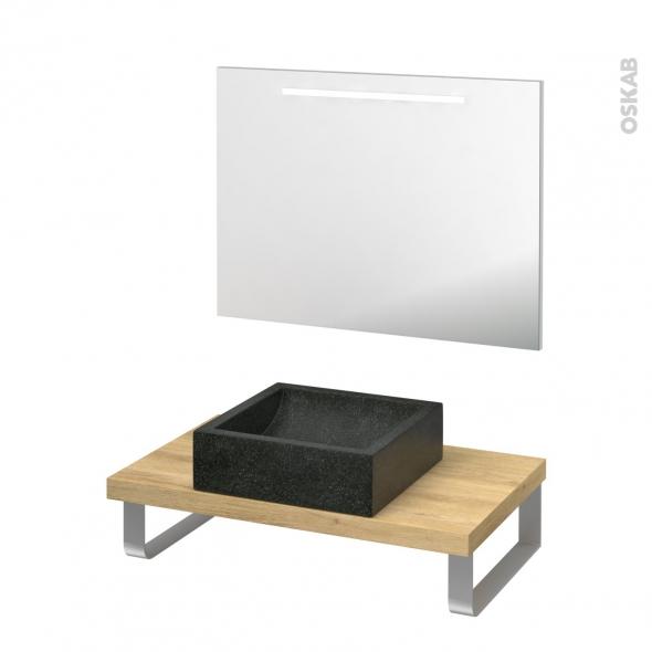 Pack salle de bains PMR - Vasque à poser Ludwig noir - Plan de toilette Hosta - Miroir rétroéclairé - L80 x P50